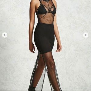 Sheer Netted-Mesh Maxi Dress